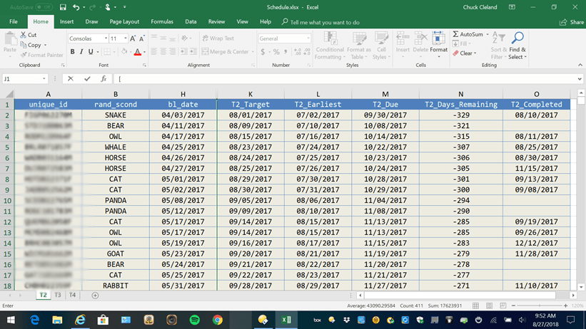 Interview Tracking List in MS Excel